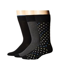 Cole Haan 3 Pack Dot Stripe Crew Assorted 1 Men's Crew Cut Socks Shoes Multi