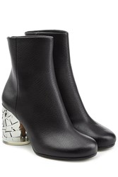 Maison Martin Margiela Leather Ankle Boots With Statement Heel Black