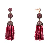 Latelita London Tassel Ball Earring Ruby Red Rose Gold Pink