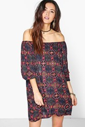 Boohoo Ana Mirror Detail Off Shoulder Dress Multi