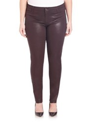 James Jeans Plus Size Faux Front Pocket Glossed Leggings Dark Red