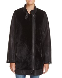 Aqua Faux Shearling Asymmetric Coat Black