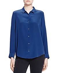 The Kooples Silk Button Front Shirt Navy