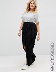 Asos Curve Maxi Skirt With Knot Side Black