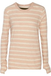 Enza Costa Striped Cotton And Cashmere Blend Top Peach