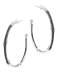 John Hardy Bamboo Silver Lava Large Hoop Earrings With Black Sapphire Black Silver