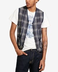 Denim And Supply Ralph Lauren Men's Plaid Vest Blue
