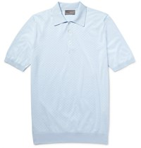 Kilgour Perforated Knitted Cotton Polo Shirt Sky Blue