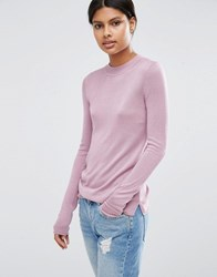 Asos Jumper With Crew Neck In Soft Yarn Lilac Purple