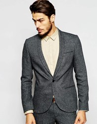 Noak Blazer With Shawl Lapel In Skinny Fit With Fleck Black