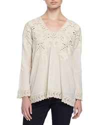 Johnny Was Long Sleeve Lacy Eyelet Tunic Shell White
