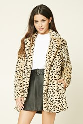 Forever 21 Faux Fur Cheetah Print Coat Beige Brown