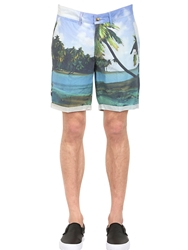 Hydrogen Beach Printed Cotton Cargo Shorts Blue