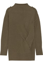 Rag And Bone Dale Twist Front Ribbed Merino Wool Sweater Army Green