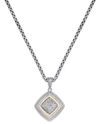 Macy's Diamond Square Pendant Necklace 1 3 Ct. T.W. In Sterling Silver And 14K Gold