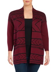 Context Plus Geometric Cotton Blend Cardigan Rhubarb Pie