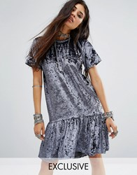 Milk It Vintage Oversized T Shirt Dress With Peplum Frill Hem In Velvet Grey