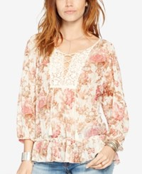 Denim And Supply Ralph Lauren Floral Print Mesh Peasant Top Claire Floral