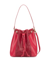 Foley Corinna Clio Laser Cut Leather Bucket Bag Rose