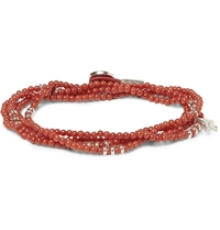 Isaia Coral And Silver Wrap Around Bracelet Orange