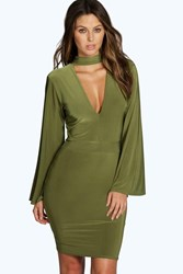 Boohoo High Neck Plunge Bodycon Dress Olive