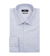 Boss Jenno Slim Fit Houndstooth Shirt Male Blue