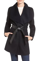 Mackage Women's Double Face Wool Blend Coat With Leather Belt Black Navy