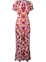 For Love And Lemons Roses Print Long Dress Pink And Purple