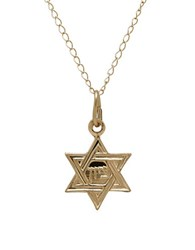 Lord And Taylor 14K Yellow Gold Star Of David Pendant Necklace