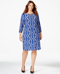 Jm Collection Woman Jm Collection Plus Size Printed Shift Dress Only At Macy's Blue Stamp