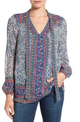 Lucky Brand Women's Woodblock Print Tie Neck Blouse