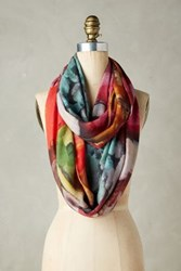 Anthropologie Paleta Infinity Scarf Red Motif