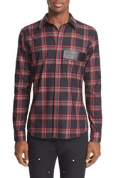Givenchy Men's Plaid Woven Shirt With Leather Trim