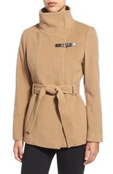Women's Cole Haan Faux Leather Trim Belted Asymmetrical Coat