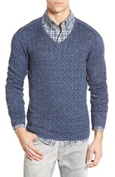 Men's John Varvatos Star Usa Cable Knit Linen V Neck Sweater Lake Blue