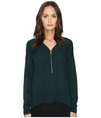 The Kooples Long Sleeve T Shirt Front Zip Green Women's T Shirt