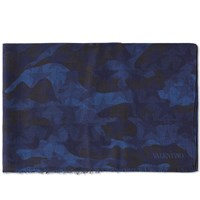 Valentino Wool And Silk Camo Scarf Blue