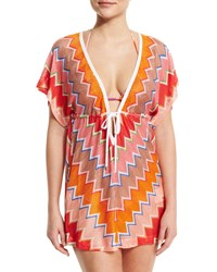 Missoni Mare Zigzag V Neck Short Caftan Coverup Multi Size 38 4