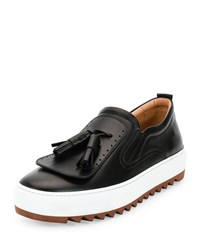 Salvatore Ferragamo Lucca Calfskin Runway Sneaker With Oversized Tassels On Archival Sole Black Women's