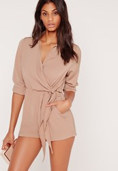 Missguided Wrap Front Shirt Playsuit Taupe Grey