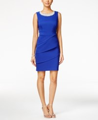 Connected Embellished Tiered Sheath Dress Deep Royal