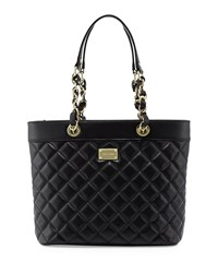 St. John Quilted Leather Tote Bag Black Gold