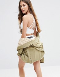 Pull And Bear Pullandbear Strappy Back Crop Top White