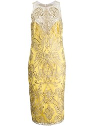 Marchesa Notte Embroidered Fitted Dress Yellow And Orange