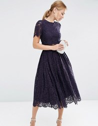 Asos Lace Crop Top Midi Prom Navy Blue