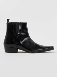 Topman Black Leather Hi Shine Pointed Zip Boots