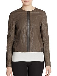 Elie Tahari Cleary Embossed Leather Jacket Nutmeg