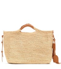 Polo Ralph Lauren Leather Trimmed Raffia Tote Beige