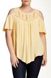 Democracy Crinkle Woven Cold Shoulder Blouse Plus Size Yellow
