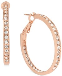 Touch Of Silver Crystal Inside Out Hoop Earrings In 14K Rose Gold Plated Metal
